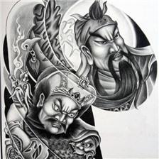 半胛关公周仓纹身手稿图片