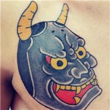 男生胸部彩色的般若纹身图片欣赏