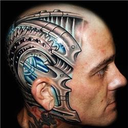 炫酷头部科技机械个性纹身
