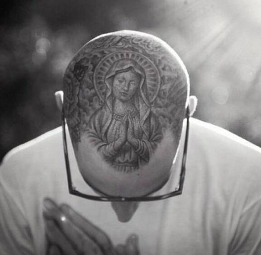 圣母玛利亚图案黑白头部纹身